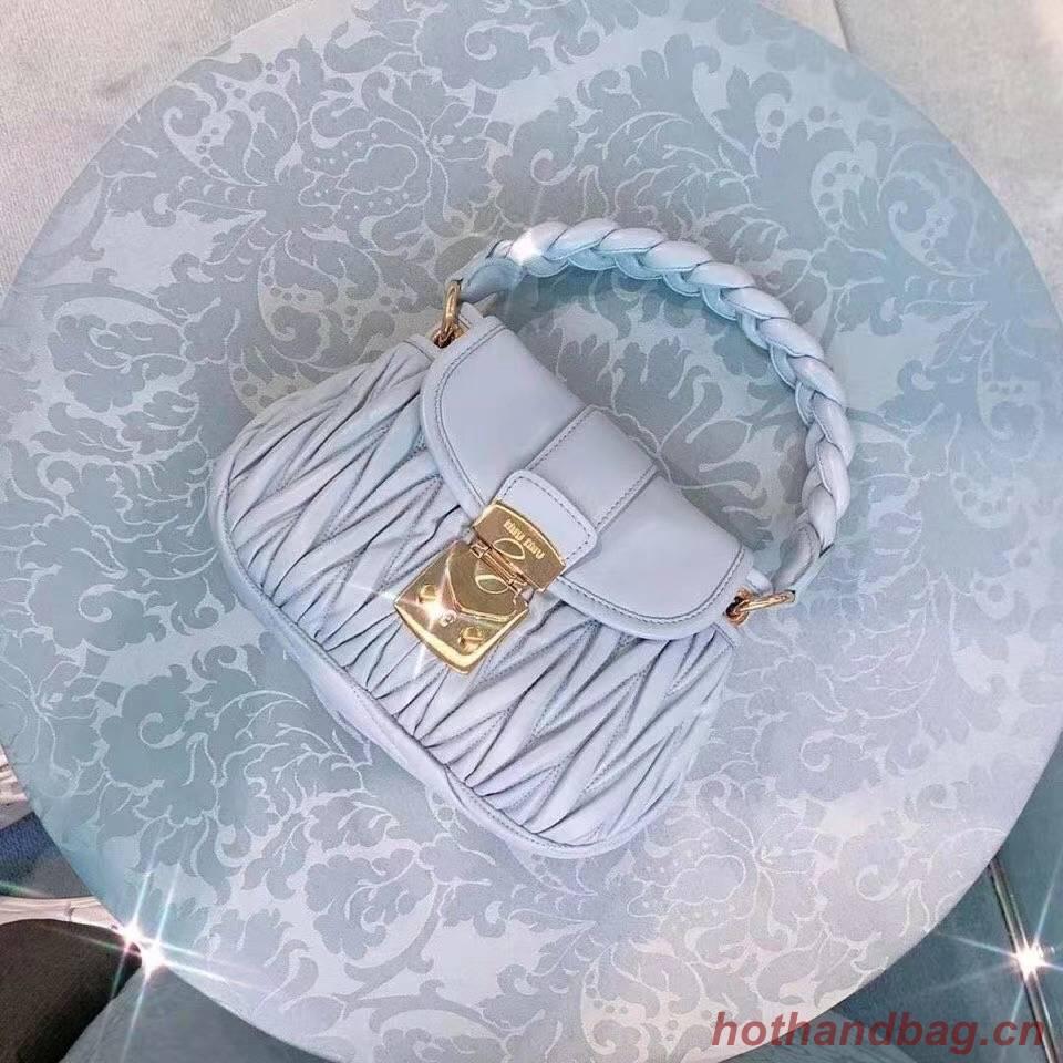 miu miu Matelasse Nappa Leather Top-handle Bag 6998 light blue