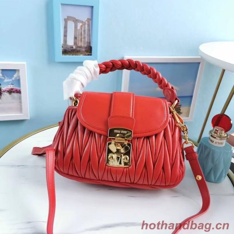 miu miu Matelasse Nappa Leather Top-handle Bag 6998 red