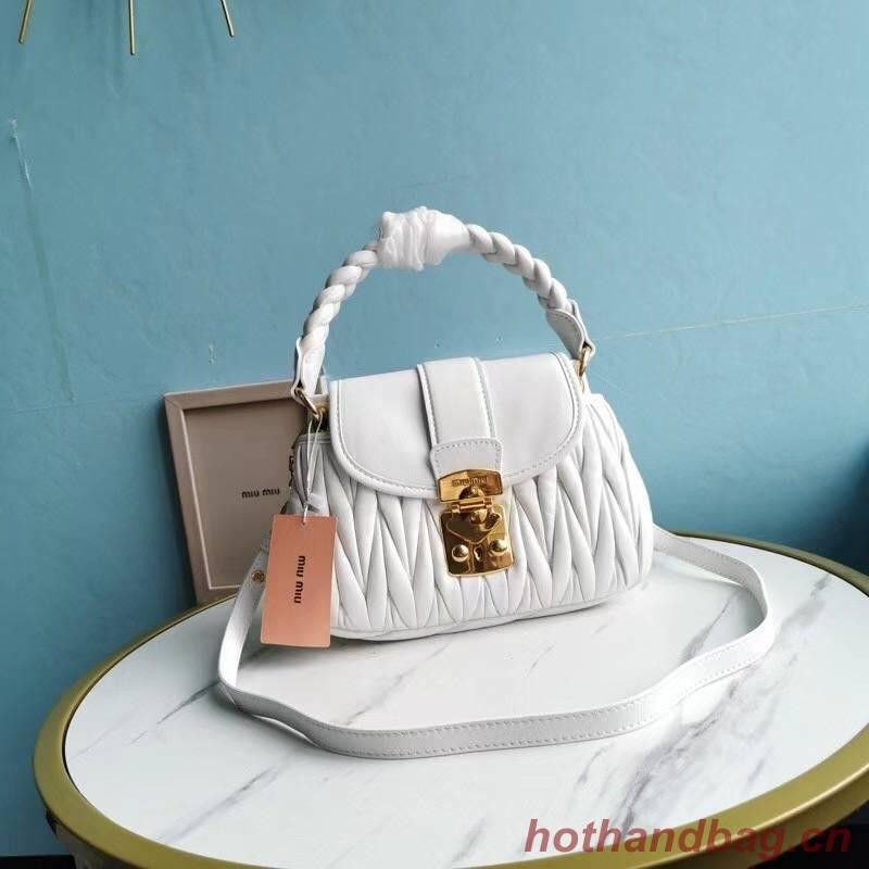 miu miu Matelasse Nappa Leather Top-handle Bag 6998 white