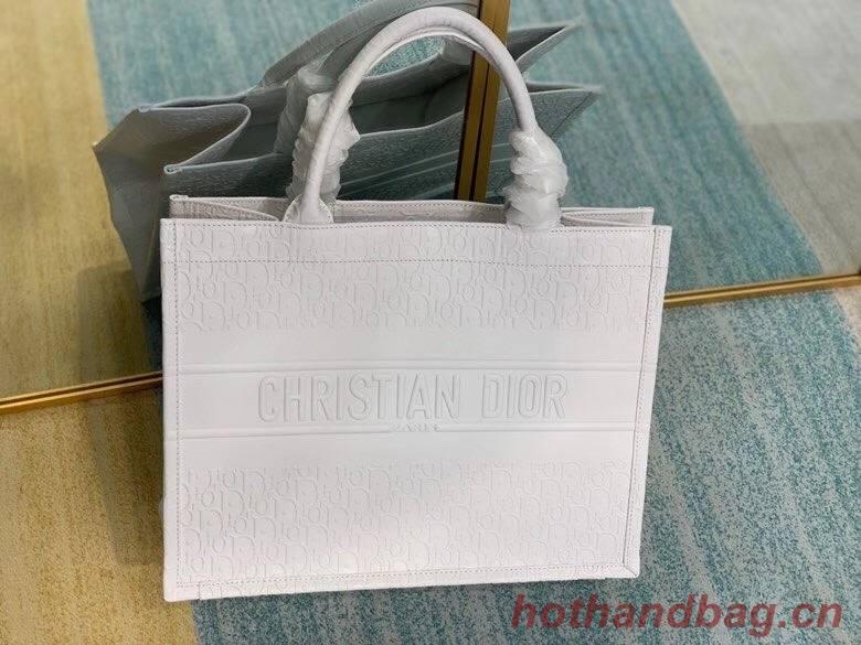 SMALL DIOR BOOK TOTE BAG IN Calfskin M1296Z white