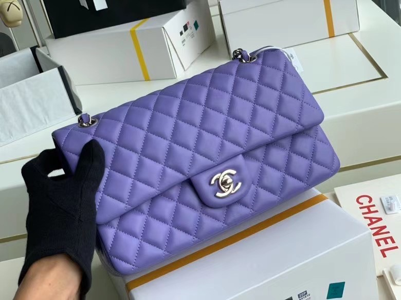 Chanel Flap Shoulder Bag Original Sheepskin leather A1112 Purple