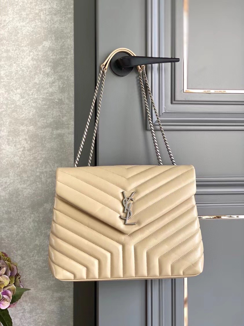 SAINT LAURENT LOULOU MEDIUM IN MATELASSE LEATHER 459749 IVORY NATURAL&Ancient silver