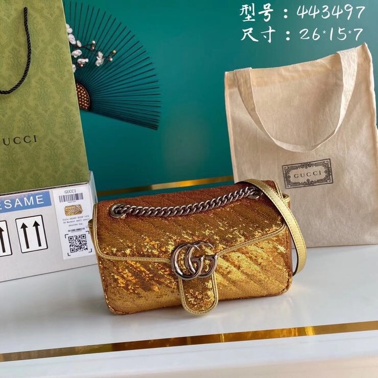 Gucci GG Marmont Sequin Mormont Small Shoulder bag 443497 gold