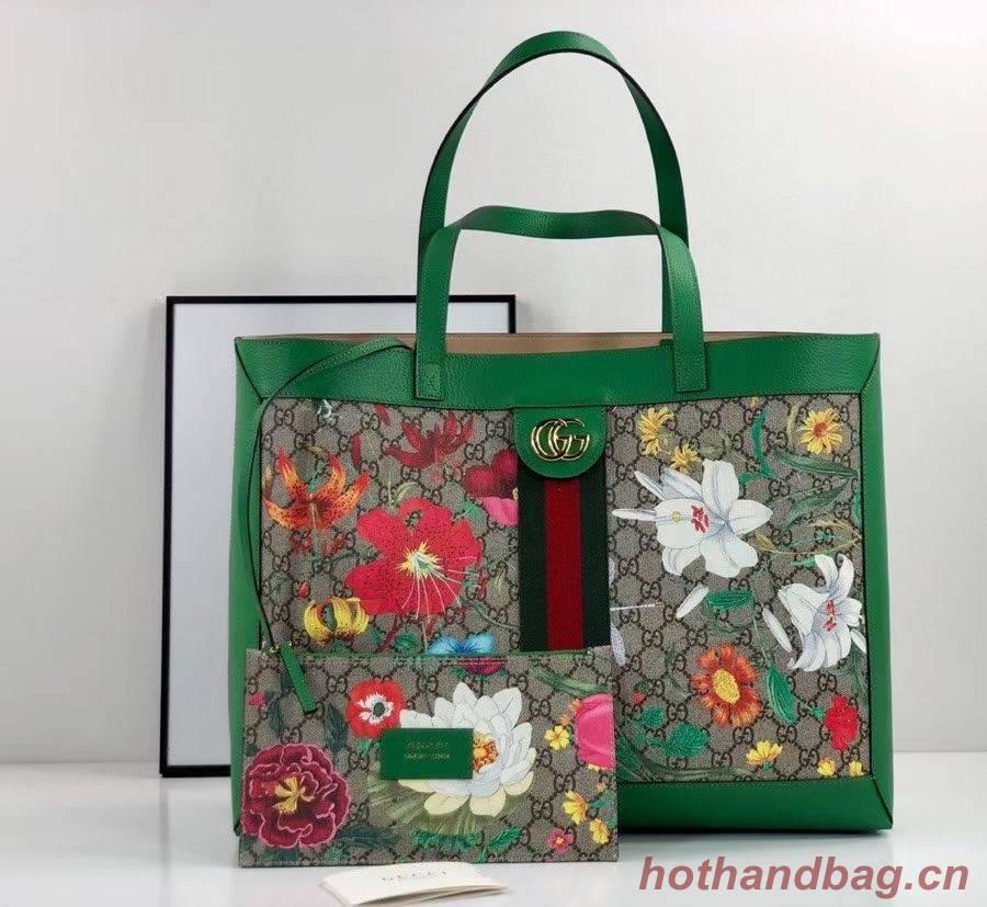 Gucci Ophidia series GG flower medium shopping bag 547947 green