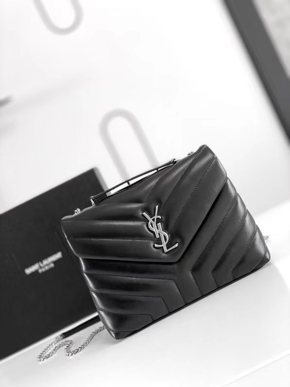 SAINT LAURENT LOULOU SMALL IN MATELASSE Y LEATHER 494699 black&Ancient silver
