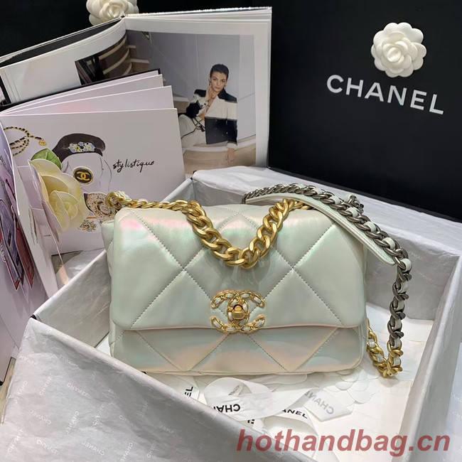 chanel 19 large flap bag AS1160 White