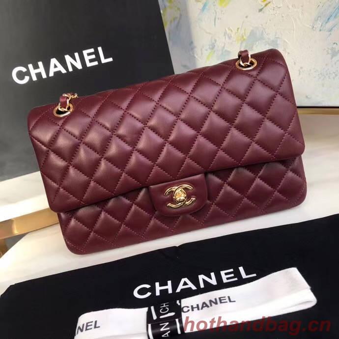 chanel classic handbag Lambskin & gold Metal A01112 Burgundy