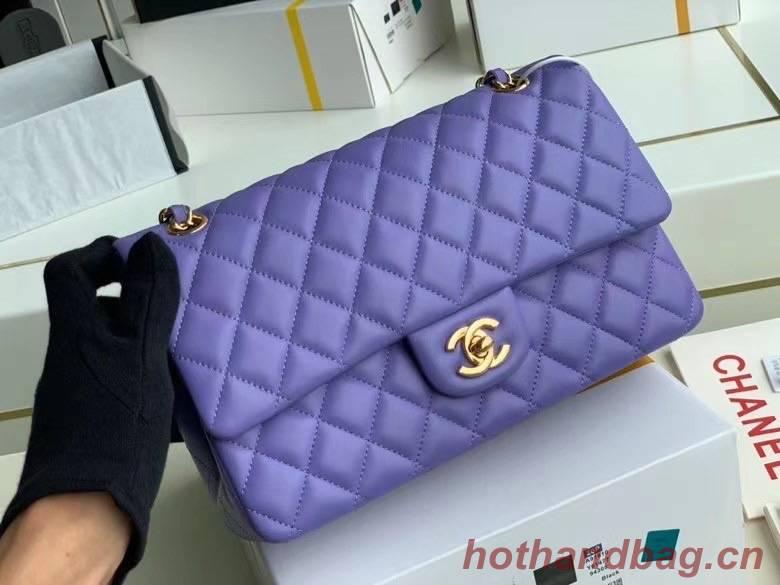 chanel classic handbag Lambskin & gold Metal A01112 Purple
