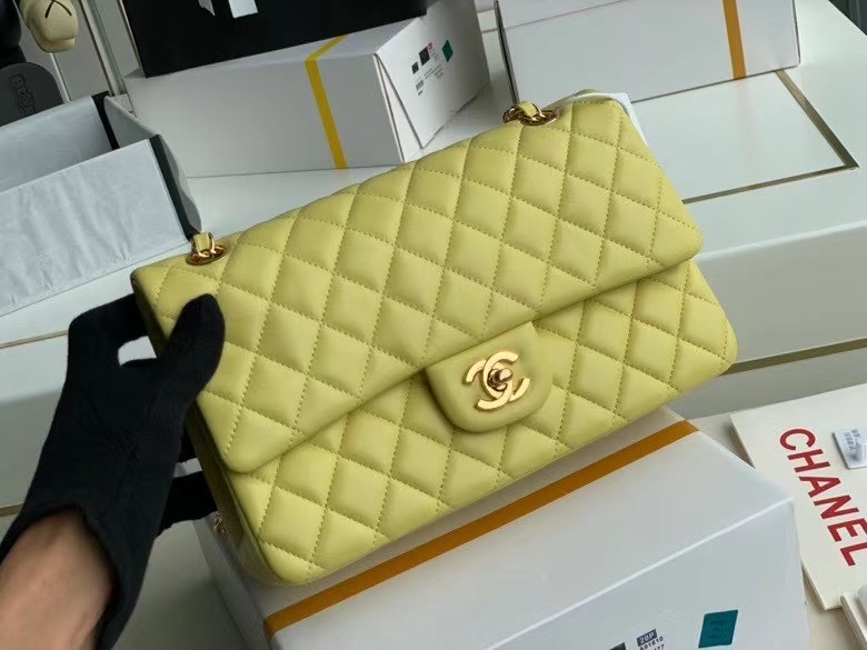 chanel classic handbag Lambskin & gold Metal A01112 lemon