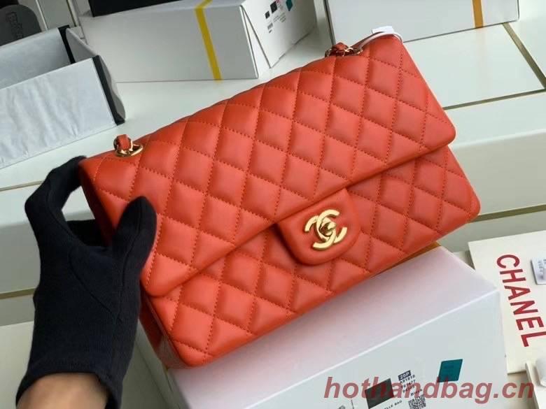 chanel classic handbag Lambskin & gold Metal A01112 red