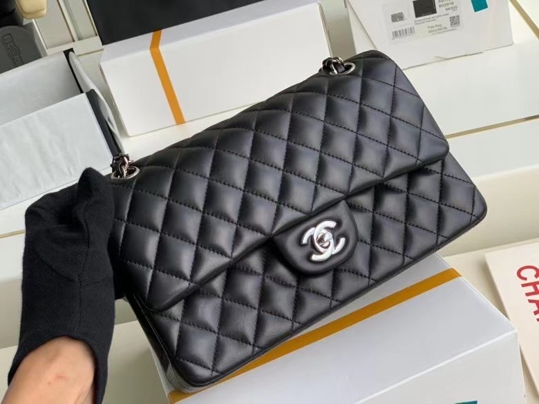 chanel classic handbag Lambskin & silver Metal A01112 Black