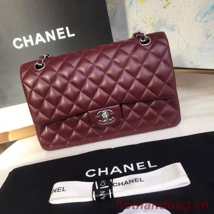 chanel classic handbag Lambskin & silver Metal A01112 Burgundy