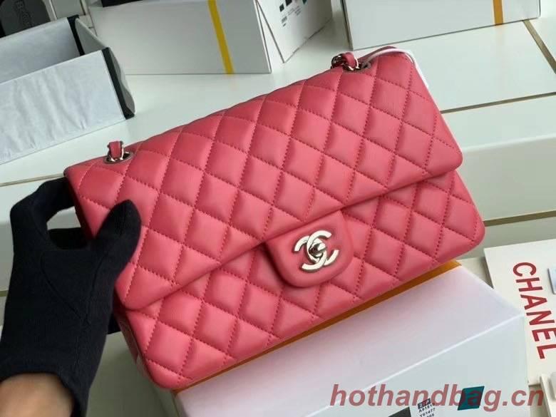 chanel classic handbag Lambskin & silver Metal A01112 pink