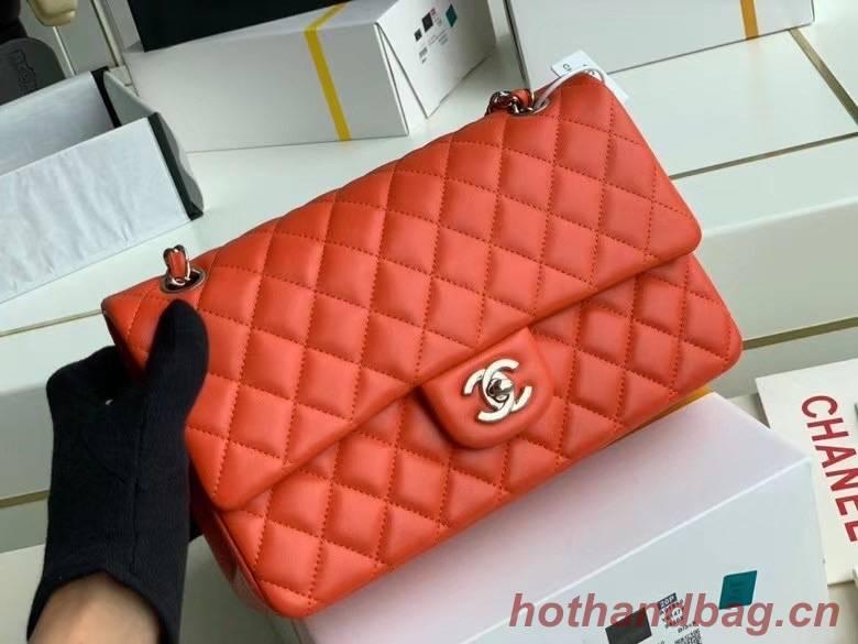 chanel classic handbag Lambskin & silver Metal A01112 red
