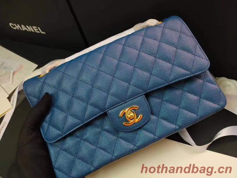 chanel flap bag Iridescent Grained Calfskin&Gold-Tone AS1112 blue