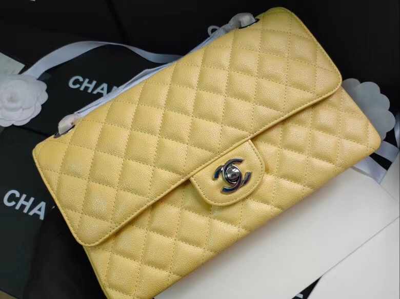 chanel flap bag Iridescent Grained Calfskin&silver Metal -Tone AS1112 yellow
