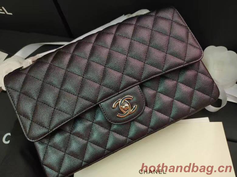 chanel flap bag Iridescent Grained Calfskin&Gold-Tone AS1112 black