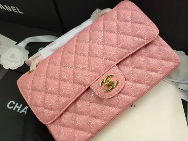 chanel flap bag Iridescent Grained Calfskin&Gold-Tone AS1112 pink