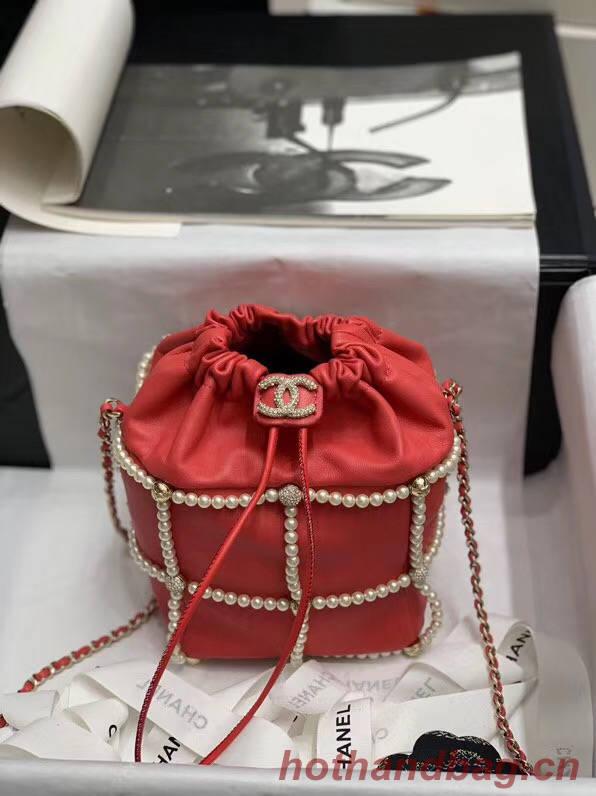 Chanel drawstring bag Lambskin & Gold Metal AS2388 red