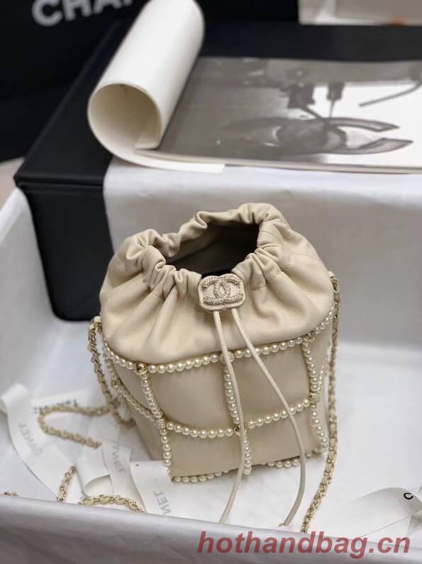 Chanel drawstring bag Lambskin & Gold Metal AS2388 white