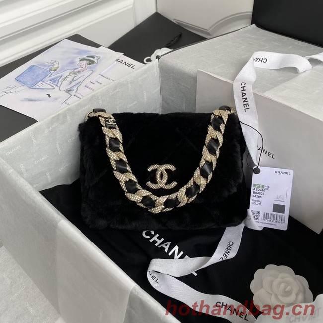 Chanel flap bag Shearling Lambskin Strass & Gold-Tone Metal AS2240 black
