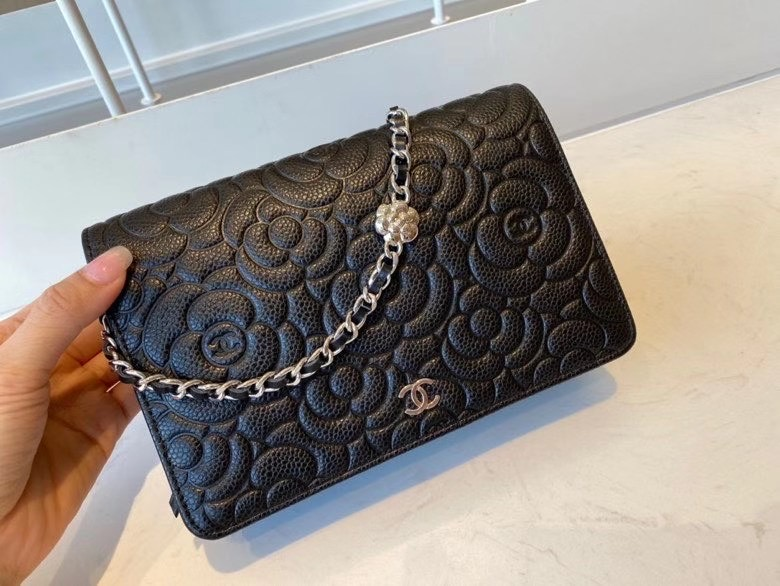 chanel classic clutch with chain Lambskin & silver-Tone Metal AP3317 black