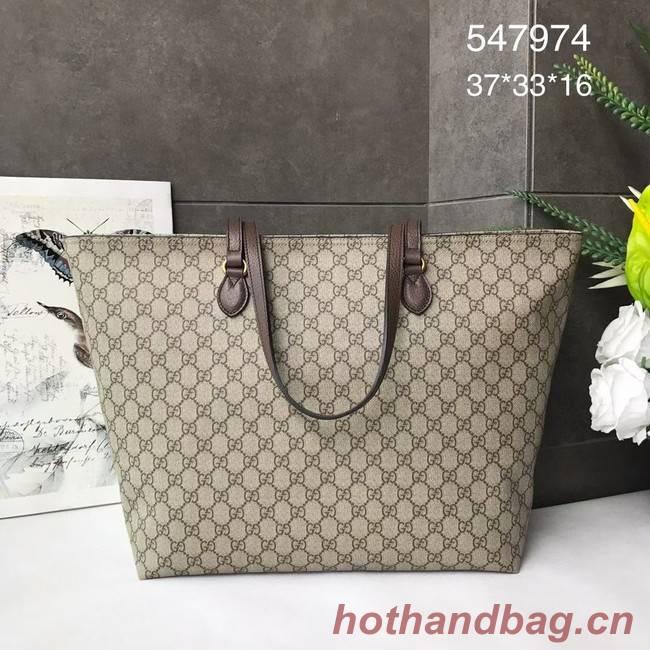 Gucci GG Supreme canvas medium tote bag 547974 brown