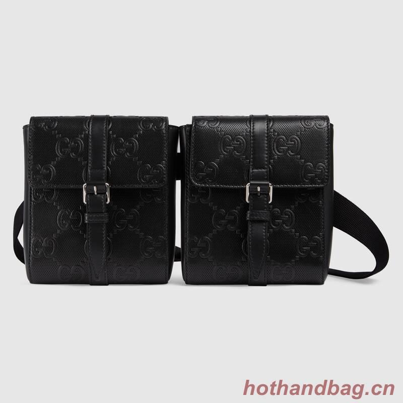 Gucci GG embossed belt bag 631339 black