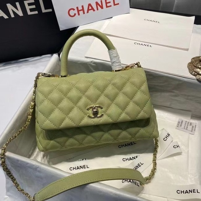 Chanel coco mini flap bag with top handle A92995 Avocado Green