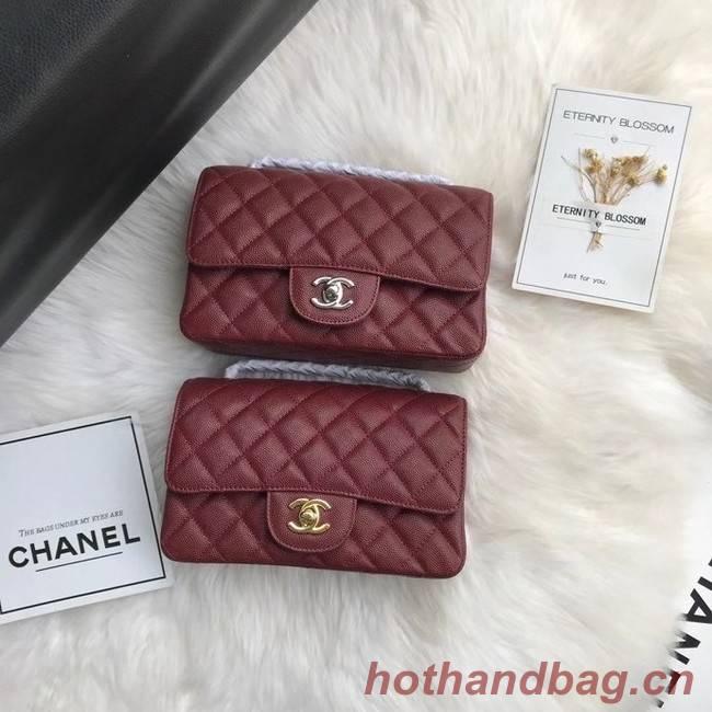 Chanel mini flap bag Grained Calfskin A1116 Burgundy