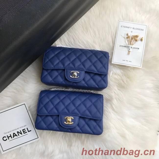 Chanel mini flap bag Grained Calfskin A1116 dark blue