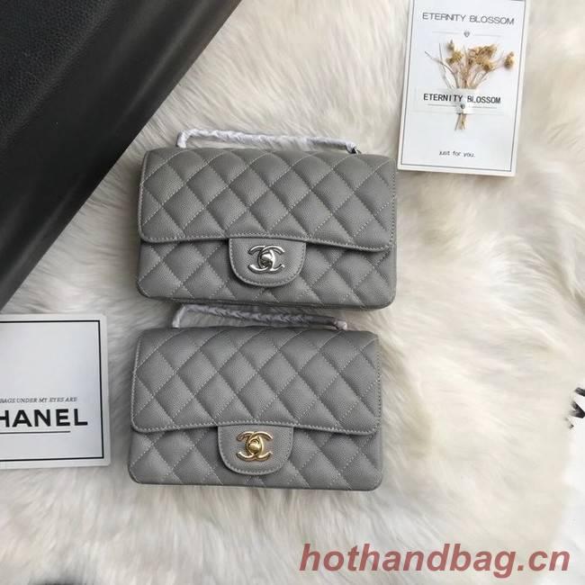 Chanel mini flap bag Grained Calfskin A1116 gray