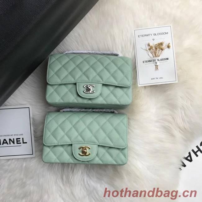 Chanel mini flap bag Grained Calfskin A1116 light green