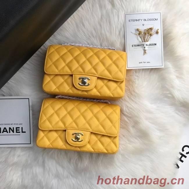Chanel mini flap bag Grained Calfskin A1116 yellow