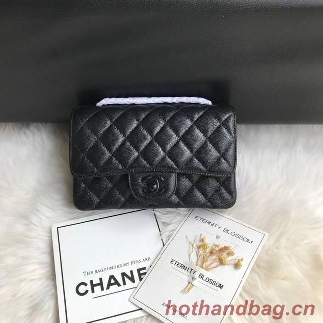 Chanel mini flap bag Grained Calfskin &black-Tone Metal A1116 black