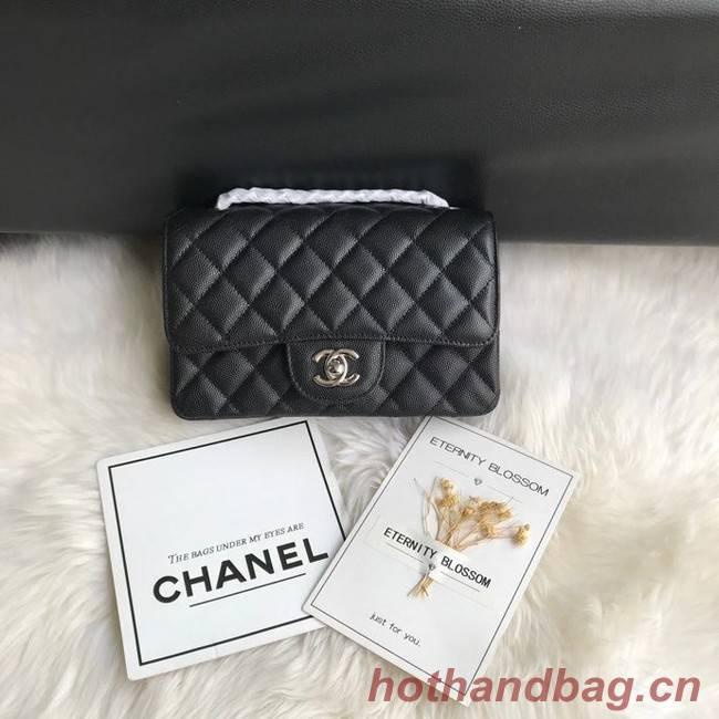 Chanel mini flap bag Grained Calfskin &silver-Tone Metal A1116 black