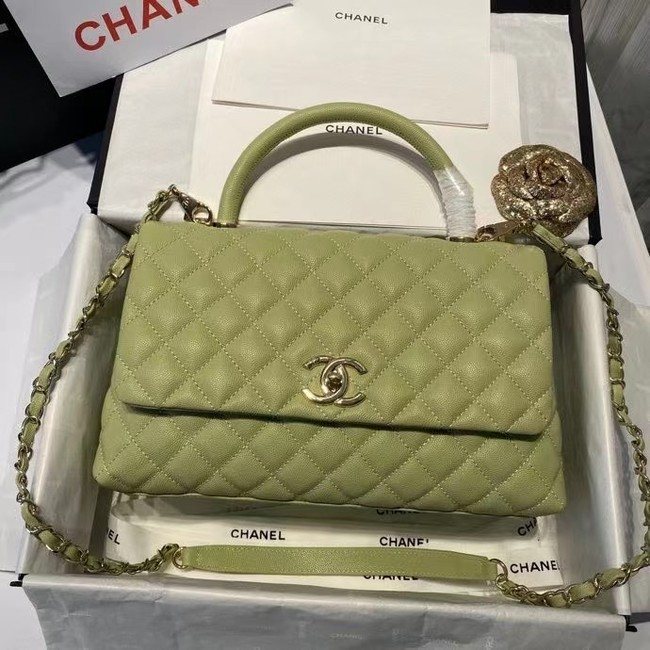 Chanel coco flap bag with top handle A92991 Avocado Green