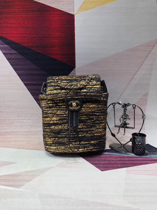 CHANEL Tweed small Backpack & gold-Tone Metal 69964 black