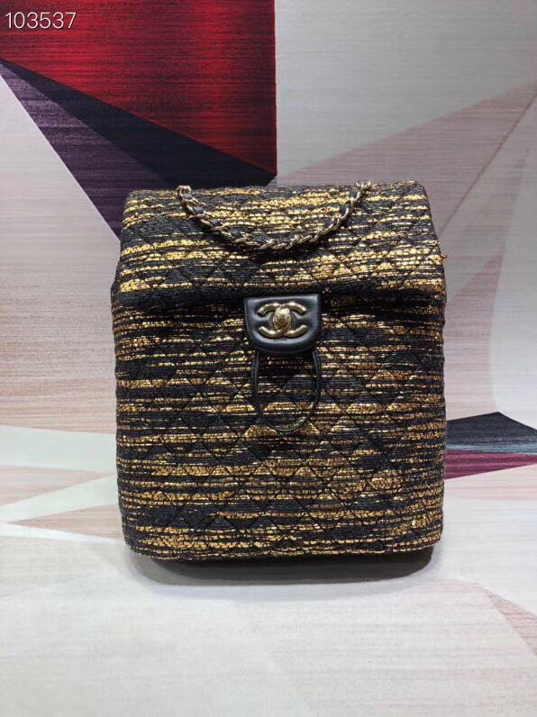 CHANEL Tweed small Backpack & gold-Tone Metal 69965 black