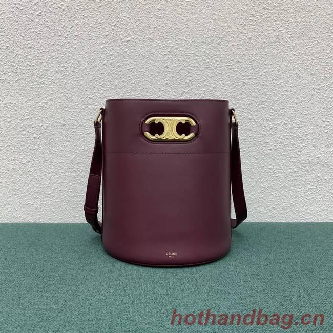 Celine BUCKET BAG IN SHINY CALFSKIN 193043 Burgundy