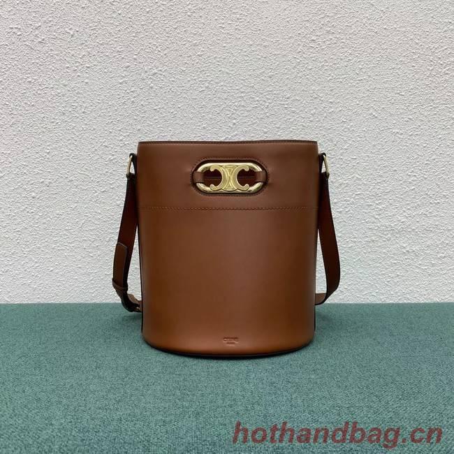 Celine BUCKET BAG IN SHINY CALFSKIN 193043 brown