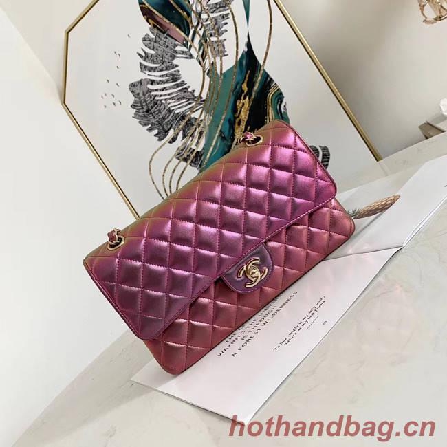 Chanel classic handbag Iridescent Calfskin & gold Metal A01112 purple