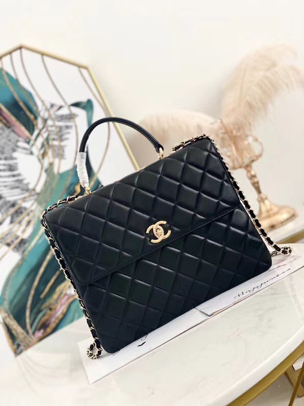 Chanel coco flap bag with top handle A92237 black