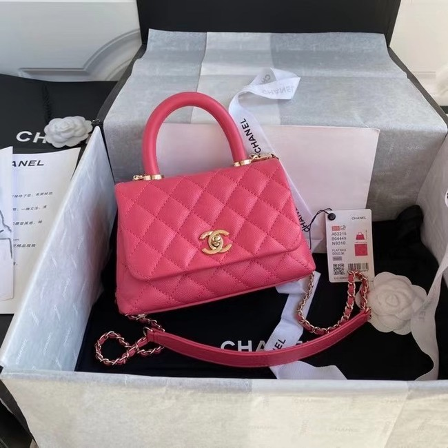 Chanel coco mini flap bag with top handle AS2215 rose