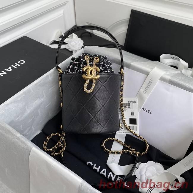 Chanel drawstring bag Lambskin & Gold Metal AS6695 black