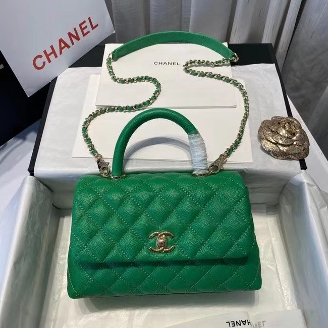 Chanel flap bag with top handle A92990 green