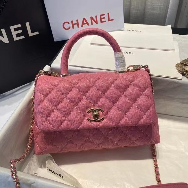 Chanel flap bag with top handle A92990 rose