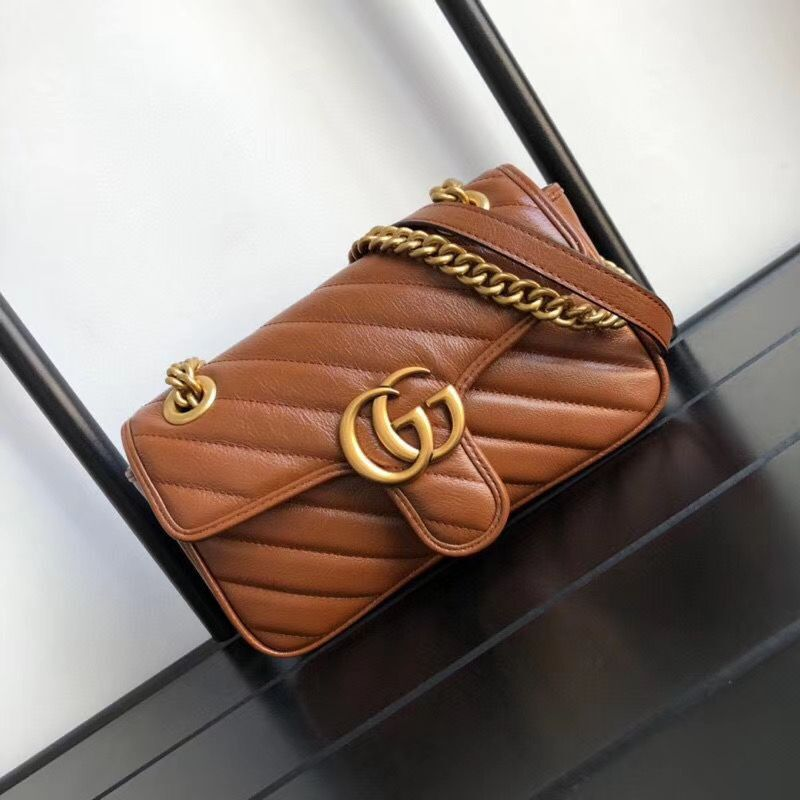 Gucci GG Marmont small shoulder bag 446744 Brown