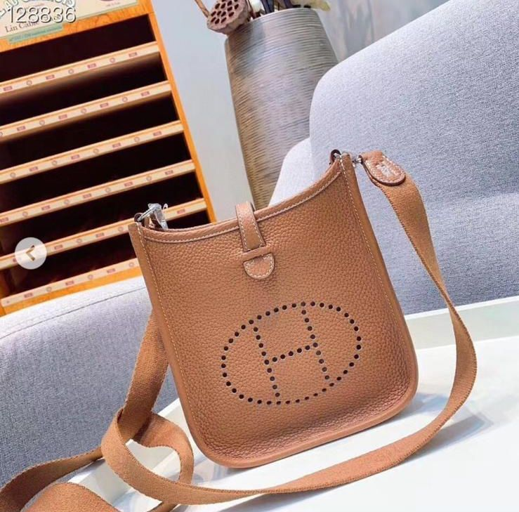 Hermes Evelyne original togo leather mini Shoulder Bag H15698 Brown