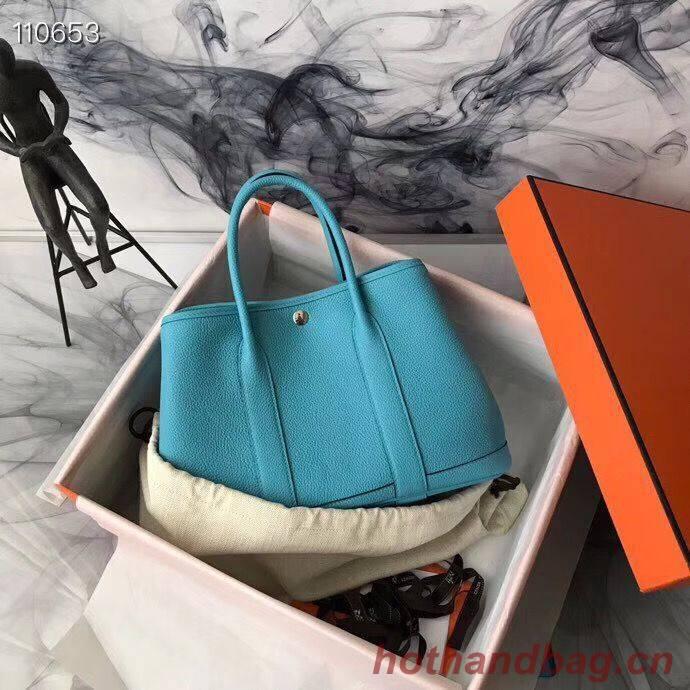 Hermes Garden Party 36cm 30cm Tote Bag Original Leather Light Blue
